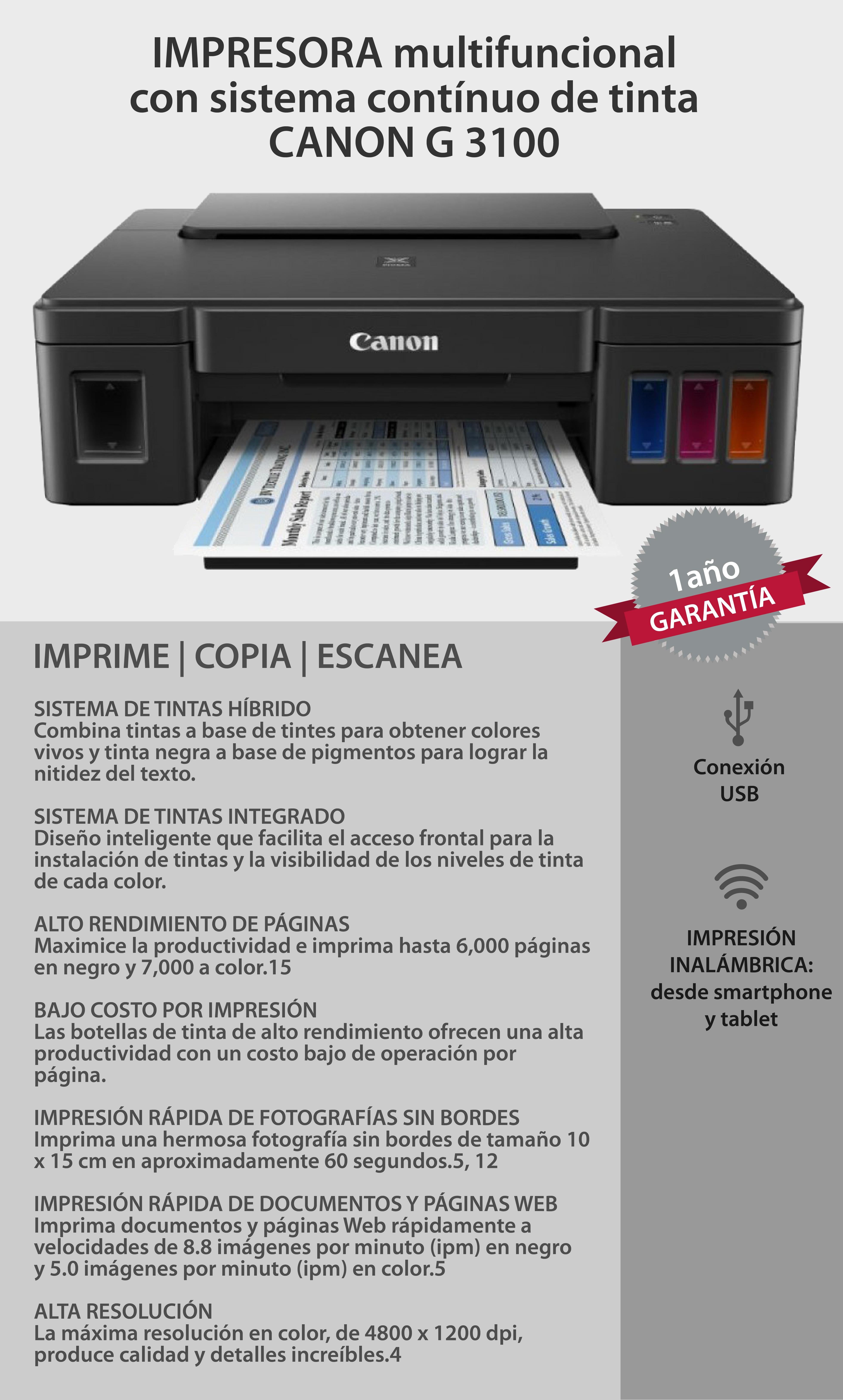 Canon : Impresora Canon G3100 Multifuncion de inyeccion de tinta c ...